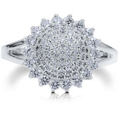 BERRICLE BERRICLE Sterling Silver AAAAA Cubic Zirconia CZ Flower Womens Fashion Right Hand Ring