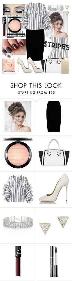 """stripe outfit"" by dj-alykat ❤ liked on Polyvore featuring Jupe By Jackie, MAC Cosmetics, Furla, Caroline Constas, Dsquared2, Red Herring, Adina Reyter, NARS Cosmetics and Speck"