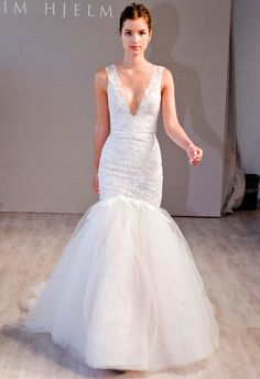 Jim Hjelm Fall 2014 | The Knot Blog Like this neckline..not a mermaid style fan