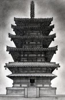 how to draw a pagoda, japanese pagoda