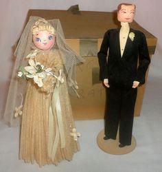 Vintage-Bride-and-Groom-Wedding-Cake-Topper-Paper-Mache-1940s-Original-Box