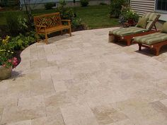 LOVE the travertine patio