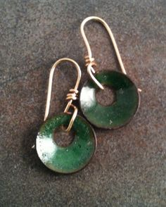 Enamel Green Earrings with Brass Ear wires by YMBlueOriginals, $22.00