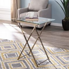 Everly Quinn Snellville Tray Table & Reviews | Wayfair Tv Tray Set, Tv Tray Table, Table Storage, Glass Table, Folding Tv Trays, Folding Chair, Metal Trays, Wood Tray, Couch Tray