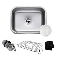 "Kraus KBU12E Outlast MicroShield 23"" Scratch Resistant Single Basin Kitchen Sink Stainless Steel Fixture Kitchen Sink Stainless Steel"