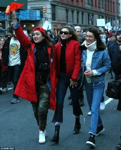 Models Bella and Gigi Hadid joined in the protest against President Trump's immigration ba...