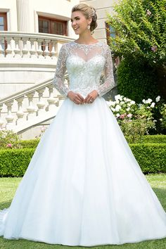 Fantastic Tulle & Organza Jewel Neckline A-line Wedding Dress With Beaded Embroidery & Detachable Jacket