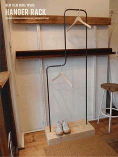 Wood Hanger 新品アンティーク☆古木♪アイアン♪ハンガーラック♪2段 インテリア 雑貨 家具 Antique ¥37000yen 〆12月15日