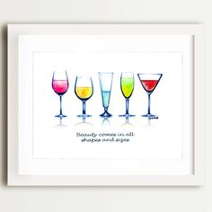 This is a PRINT of a wine watercolour illustration signed by the artist, April Marion. This piece is a great addition to any room and a perfect
