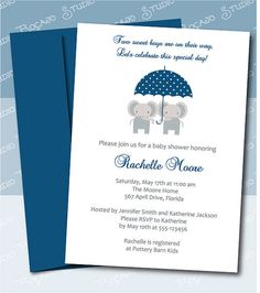 cute elephant twins boy girl baby shower stamps Baby Shower