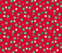 Christmas Gumdrops Red Green Cream fabric by wickedrefined on Spoonflower - custom fabric #fabric #pattern #christmas #holidays #giftwrap #vintage