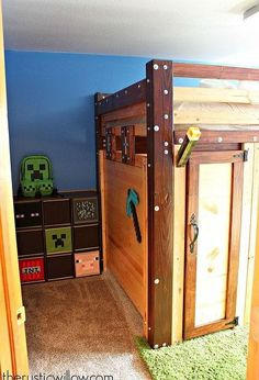 When my boyfriend's son moved into our house, his one request was the he wanted an awesome Minecraft room. So, an awesome Minecraft room he was given. Boys Minecraft Bedroom, Minecraft Bedding, Minecraft Room Decor, Minecraft Decoration, Minecraft Furniture, Lego Bedroom, Minecraft Crafts, Minecraft Party, Minecraft Skins