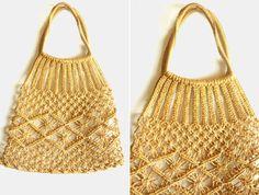 Vintage macrame jute shopping beach cut out crochet net hand bag