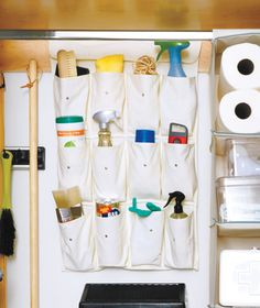 Keep everyday essentials, like wipes, all-purpose spray, and a whisk broom, within sight and easy reach