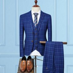 2017 Blue Plaid Suit Men 3 pieces Slim Fit Custom Made Business Formal Suits for Wedding 2017 Latest Coat and Pants 3pcs Terno