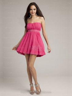 A-line Strapless Chiffon Short/Mini Watermelon Ruffles Homecoming Dresses
