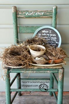 Chippy Chair and Shabby Collection of Old Bird Nests greet visitors on the Front Porch