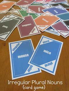 Challenge kids to a rousing game of cards ... and sneak in some irregular plural noun matching practice while playing! Free printable game cards (mouse/mice, leaf/leaves, man/men, etc.) at Relentlessly Fun, Deceptively Educational.