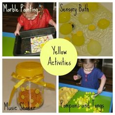 Tons of yellow activities for learning the colour yellow.  Paint, sensory, music, fine motor and so much more. {learning4kids.net}