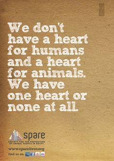 We don't have a heart for humans and a heart for animals.  We have one heart or none at all.