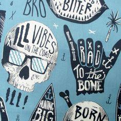 Fabric Chillax Light Blue Hawaiian Surfer door BluePacificFabrics