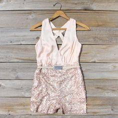 Crystal Lagoon Sequin Romper, Sweet Women's Bohemian Clothing