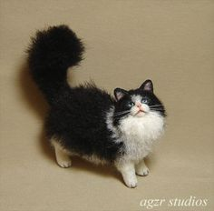 OOAK-1-12-Dollhouse-Miniature-Cat-Kitten-Furred-Realistic-Kitty-Animal-Handmade