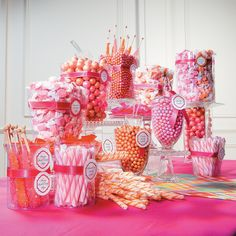 Elegant and stylish, this beautiful Wedding Candy Buffet will make your special day even sweeter. A monochromatic orange look gives this stunning candy buffet . Deco Buffet, Dessert Buffet, Dessert Bars, Orange Candy Buffet, Candy Display, Candy Bar Wedding, Candy Table, Candy Party, Candy Shop
