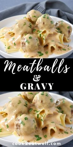 In this meatballs and gravy recipe, beef meatballs are browned and cooked in rich and creamy gravy. Making a delicious comfort food meal! Meat Recipes, Real Food Recipes, Dinner Recipes, Cooking Recipes, Healthy Recipes, Meatball Recipes, Recipies, Brown Gravy Recipe, Easy Gravy Recipe
