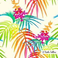 Bright Tropical Art Print by - X-Small Tropical Shower Curtains, Tropical Showers, Tropical Bathroom, Framed Art Prints, Canvas Prints, Acrylic Box, Clear Acrylic, Tropical Art, Iphone Skins