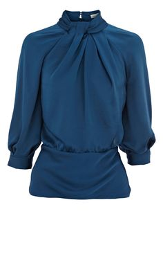 knot neck blouse, cute with a skirt.