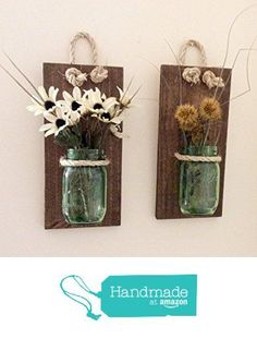 Mason Jar Sconce (SET OF TWO) Handcrafted Rustic Wall Decoration Mason Jar Hanging Vase Reclaimed Wood Sconce Reclaimed. Mason Jar Projects, Mason Jar Crafts, Mason Jar Diy, Bottle Crafts, Rustic Wall Decor, Rustic Walls, Shabby Chic Decor, Mason Jar Sconce, Pallet Wall Art