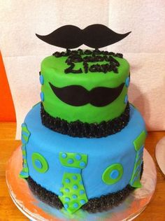 Mustaches & Ties baby shower cake