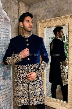 This Royal blue sherwani is a show stopper, its bold and has a huge presence.  Perfect for an Indian wedding and can be made in any colour.