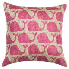 Down-filled burlap pillow with a pink whale motif. Handmade in the USA.    Product: PillowConstruction Material: