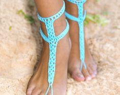 Sandalias Descalzas azul turquesa con botones, Crochet Barefoots, turquesa joyería, boda playa, algo azul, accesorio de la boda