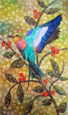 AQUINO: Lílac - A beautiful Lilac Roller Bird in this mosaic, vibrant colours. Mosaic Tile Designs, Mosaic Tile Art, Mosaic Artwork, Pebble Mosaic, Mosaic Patterns, Mosaic Glass, Mosaic Animals, Mosaic Birds, Mosaic Flowers