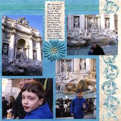 Another Trevi Fountain layout. Bg paper is Daisy D, Strip on right is Cloud The border is cut from fancy pants paper using the tall/border feature on the Storybook cartridge. Cruise Scrapbook Pages, Vacation Scrapbook, Scrapbook Page Layouts, Scrapbooking Ideas, Italy Vacation, Italy Travel, Friend Scrapbook, Trevi Fountain, Fancy Pants