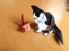 Cat and kitty, designed by Kyohei Katsuta, folded by Teru Kutsuna.