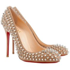 Pre-owned Christian Louboutin Spike Fifi Corde Nude Pumps ($920) ❤ liked on Polyvore featuring shoes, pumps, corde nude, nude court shoes, shiny shoes, christian louboutin pumps, nude pumps and spiked high heel shoes