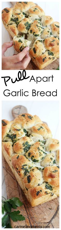 Pull Apart Garlic Bread 1 cup (8 oz) warm water 2 tablespoons white sugar 2 teaspoons active dry yeast 2 tablespoons unsalted butter, softened 1 cup (8 oz) milk (I used 1%) 2½ teaspoons salt 5½ - 6½ cups (1 lb 9 oz - 2 lbs 3 oz) bread flour For Topping: 8 tablespoons butter, melted ¼ cup fresh parsley, finely chopped (or 4 teaspoons dried) 2 Tablespoon fresh oregano (or 1 teaspoon dried oregano) 4 cloves garlic, mined 2 teaspoons kosher salt