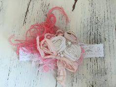 Baby Girl Headband- Baby Headband- Newborn Headband-Flower Girl Headband -Lace Baby Headbands-Bows-Cream Headband-Baby hair Bows