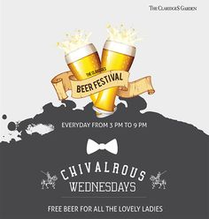 #Equality is all well and good! But on a #Wednesday, it pays to be a #Lady  #TheClaridgesGarden #FreeBeerForLadies #WednesdayOffers