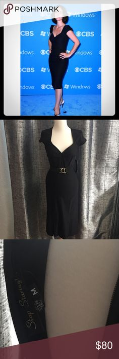 Stop Staring! Billion Dollar Baby Dress sz M🎀 NWT Stop Staring Billion Dollar baby dress in Black! New With Tags in a size Medium! Retails for $161.00 at stopstaring.com but if you purchase from me you'll score for not paying full price! Dress is beautiful with capped sleeves and flared hem. If you've owned this brand you know how comfy and stretchable their fabric is. Plus dress comes with adjustable gold hardware belt you can wear with or without dress. Be like Carrie Anne Moss and many…