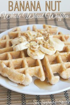 Banana Nut Whole Wheat Waffles on SixSistersStuff.com