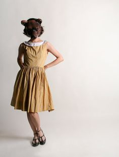 Vintage Early 1960s Lanz Dress Mustard Yellow Floral by zwzzy