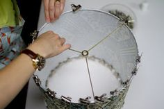 DIY How to make a Lamp Shade via Design*Sponge Diy Projects To Try, Crafts To Make, Craft Projects, Recover Lamp Shades, Make A Lampshade, Lampshades, Lampshade Designs, Silk Art, Do It Yourself Crafts