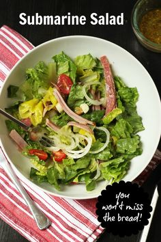 Submarine Salad: You Won't Miss the Bread! | Good Cheap Eats    The best part of a sub sandwich is the meat and veggies and abundant Italian dressing. You have all those in this tasty Submarine Salad, so good you won't miss the bread!    http://goodcheapeats.com/2016/08/submarine-salad-recipe/