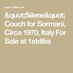 """Silene"" Couch for Sormani, Circa 1970, Italy For Sale at 1stdibs"