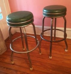 Pair VINTAGE COSCO Emerald Green/CHROME SWIVEL BAR STOOLS 1950s #Cosco #50s & VINTAGE 1950u0027s -30u0027s Ruby Red Vinyl/CHROME SWIVEL BAR STOOLS. 3 ... islam-shia.org